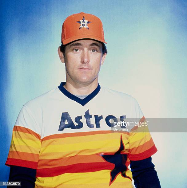 Close up of the Houston Astros' pitcher Nolan Ryan standing alone wearing his uniform