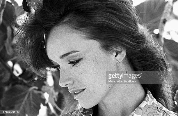 'Close up of the Italian TV announcer Aba Cercato in profile looking downwards she's considered the best RAI announcer speaks four languages doesn't...