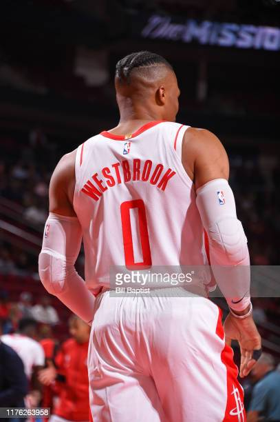 A close up of the jersey of Russell Westbrook of the Houston Rockets during a preseason game against the San Antonio Spurs on October 16 2019 at the...