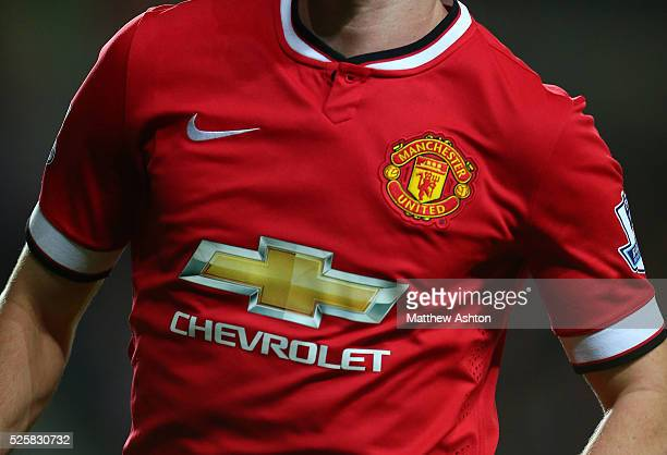 Close up of the Manchester United Nike home shirt with Chevrolet as the sponsor
