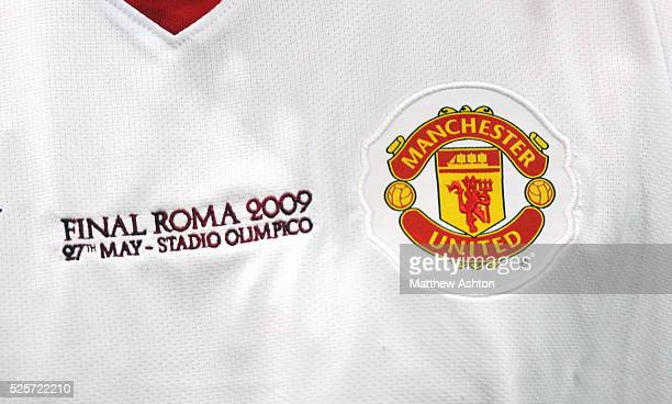 Close up of the Manchester United shirt commemorating the Champions League Final 2009 in Rome