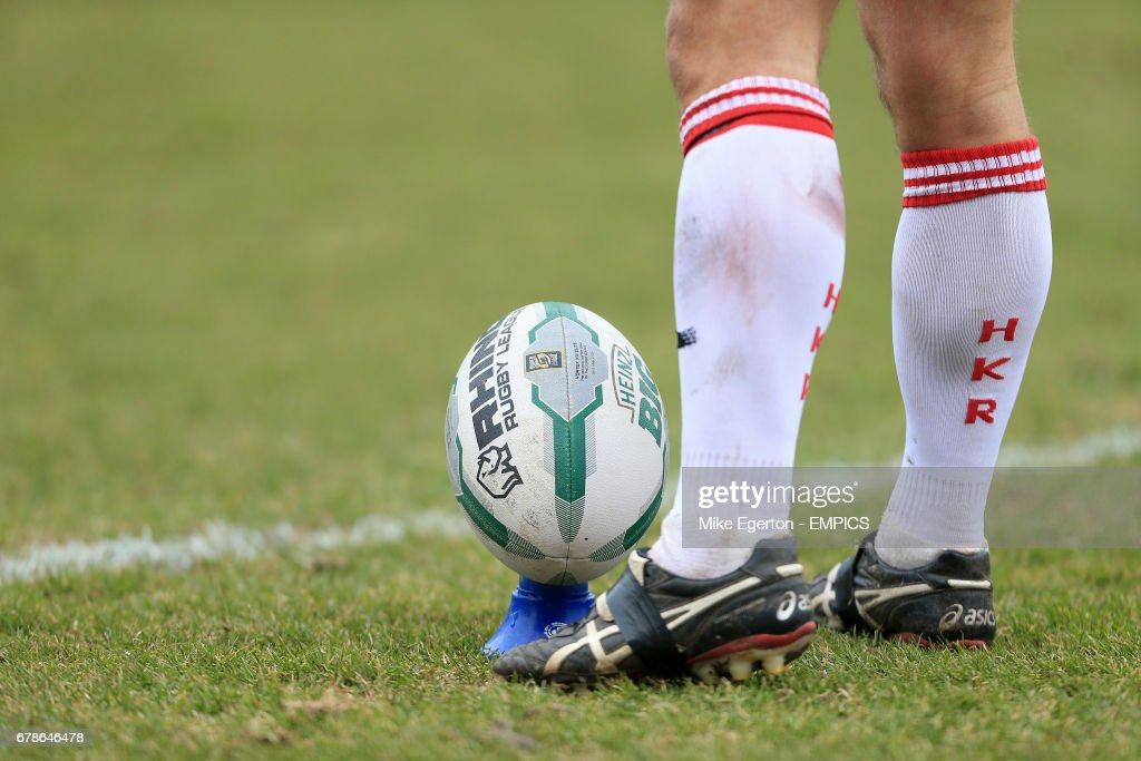 A close up of the match ball about to be kicked.