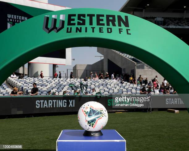 Close up of the match ball during the round 15 A-League match between Western United and the Central Coast Mariners at GMHBA Stadium on January 19,...