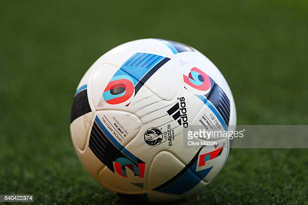 A close up of the match ball during the UEFA EURO 2016 Group A match between Romania and Switzerland at Parc des Princes on June 15 2016 in Paris...