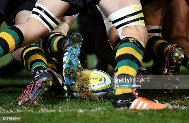 A close up of the match ball in the scrum during the Aviva Premiership match between Northampton Saints and Newcastle Falcons at Franklin's Gardens...