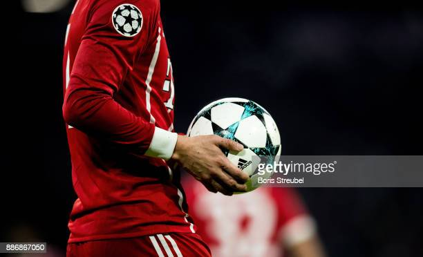 A close up of the matchball is pictured during the UEFA Champions League group B match between Bayern Muenchen and Paris SaintGermain at Allianz...