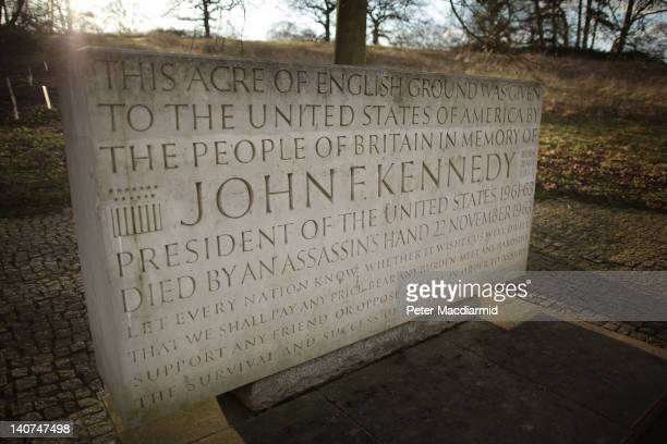 Close up of the memorial to US President John F Kennedy on March 5, 2012 in Runnymede, England. The memorial stands in an acre of land given to the...
