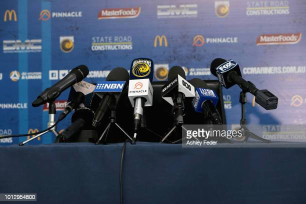 Close up of the microphones and desk before the press conference on August 8, 2018 in Tuggerah, Australia. The Central Coast Mariners confirmed that...