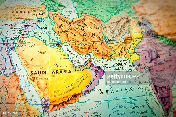 Close up of the middle east on a world globe