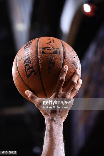 A close up of the NBA ball during the game between the Los Angeles Lakers and the Golden State Warriors during the game against the Los Angeles...