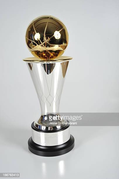 A close up of the NBA Finals MVP Trophy during Game Five of the 2012 NBA Finals at American Airlines Arena on June 21 2012 in Miami Florida NOTE TO...