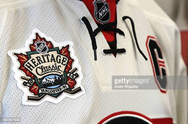 A close up of the NHL Heritage Classic jersey worn by Jason Spezza of the Ottawa Senators is shown during the official unveiling at Canadian Tire...