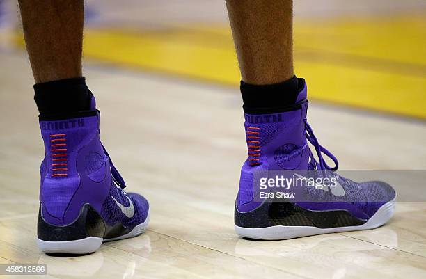 A close up of the Nike shows worn by Kobe Bryant of the Los Angeles Lakers during their game against the Golden State Warriors at ORACLE Arena on...