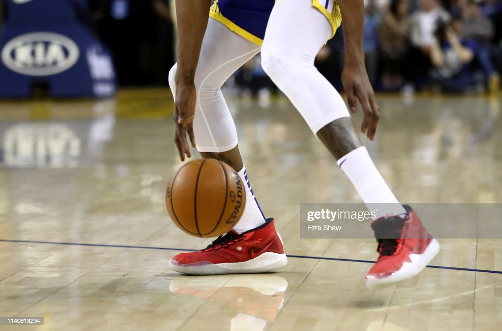 d6562de402fc A close up of the Nike sneakers worn by Kevin Durant of the Golden ...