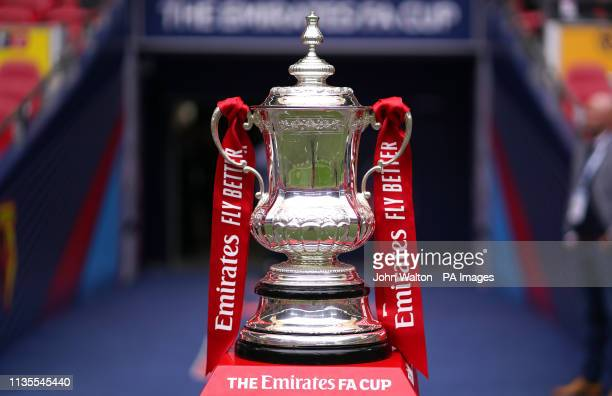 Close up of the official FA Cup Trophy ahead of the FA Cup semi final match at Wembley Stadium, London.