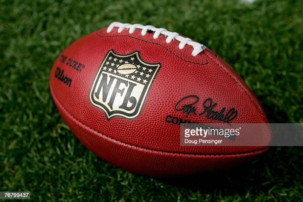 Close up of the official NFL 'The Duke' game ball complete with commissioner Roger Goodell's signature as the Denver Broncos defeated the Oakland...