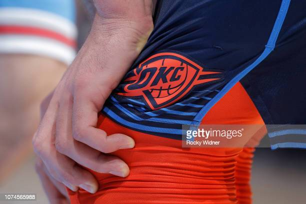 Close up of the Oklahoma City Thunder logo on the shorts belonging to Steven Adams during the game against the Sacramento Kings on December 19, 2018...