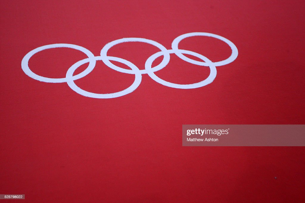 Close up of the Olympic rings on the Judo mat at Excel Arena, London