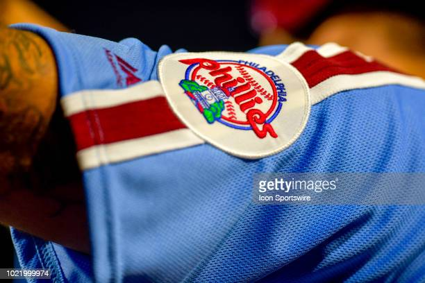 A close up of the Philadelphia Phillies patch / logo during the MLB game between the New York Mets and the Philadelphia Phillies on August 16 2018 at...