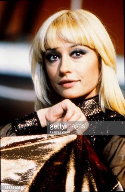 Close up of the presenter of television and Italian singer Raffaella Carra Madrid Spain