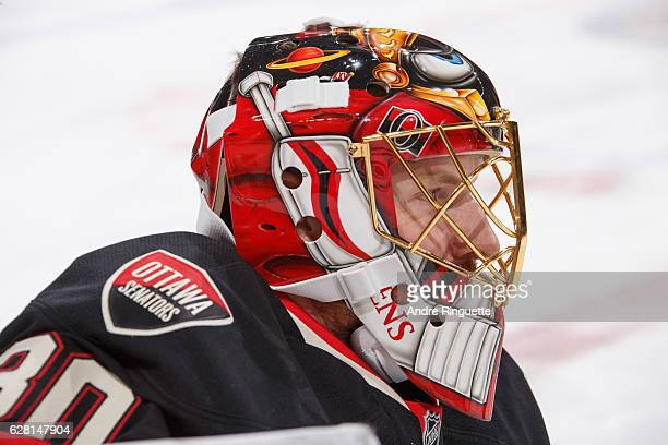 A close up of the profile of the mask of Andrew Hammond of the Ottawa Senators prior to a game against the Philadelphia Flyers at Canadian Tire...