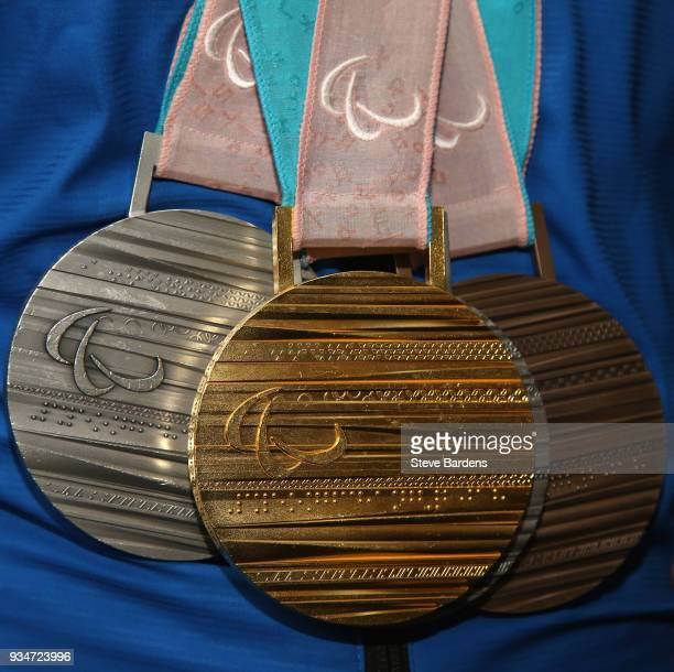 Close up of the respective medals won by Menna Fitzpatrick as Team ParalympicsGB arrive back from the PyeongChang 2018 Paralympic Winter Games at...