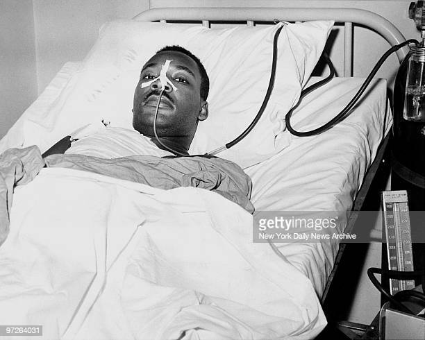 Close up of the Rev Martin Luther King at Harlem Hospital after he was stabbed on Sept 20 1958
