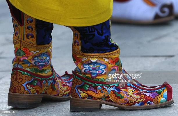 A close up of the shoes of Bhutan's new king Jigme Khesar Namgyel Wangchuck during a ceremony in Thimphu on November 6 2008The isolated Himalayan...