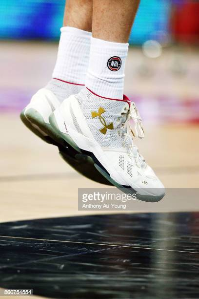 Close up of the shoes of Dane Pineau of the Kings during warm up prior to the round two NBL match between the New Zealand Breakers and the Sydney...