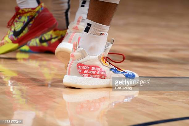 A close up of the shoes of Jamal Murray of the Denver Nuggets during a game against the Phoenix Suns on October 25 2019 at the Pepsi Center in Denver...