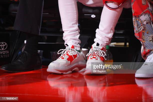 A close up of the shoes of rapper Lil Baby during a game between the Oklahoma City Thunder and the Houston Rockets on October 28 2019 at the Toyota...