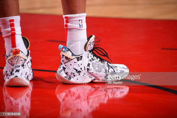 A close up of the shoes of Russell Westbrook of the Houston Rockets during a preseason game against the San Antonio Spurs on October 16 2019 at the...