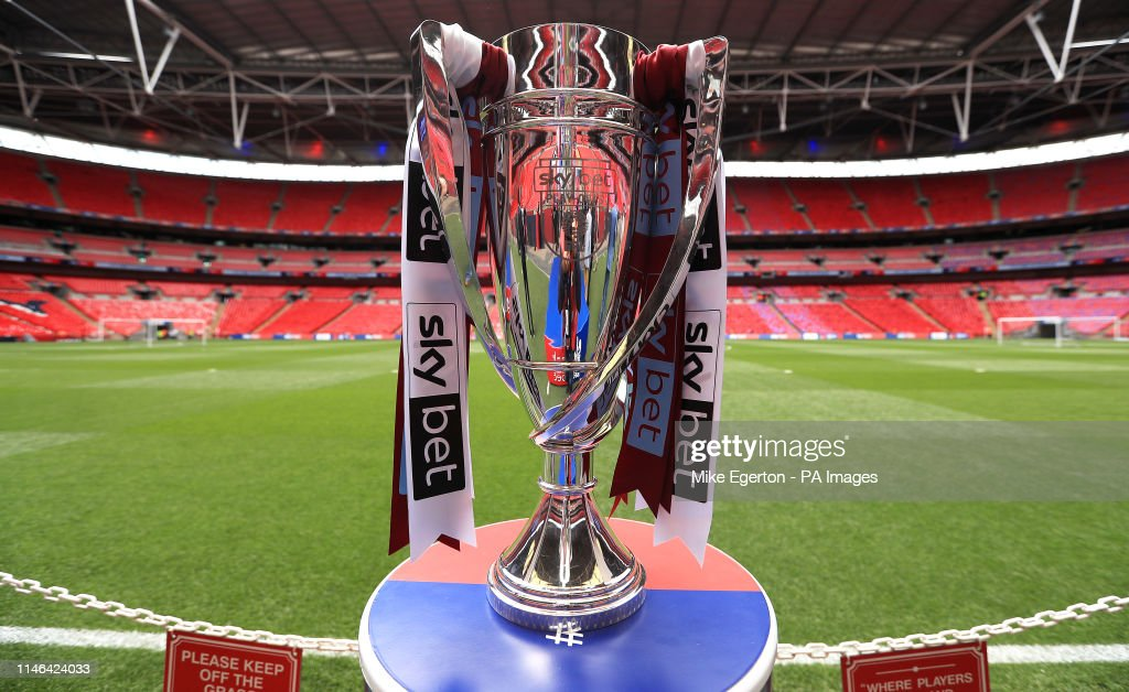 Close up of the Sky Bet Championship Play-off Trophy ahead