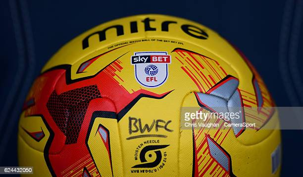 A close up of the Sky Bet EFL logo on a yellow Bolton Wanderers football before the Sky Bet League One match between Bolton Wanderers and Millwall at...