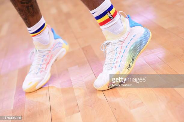 A close up of the sneakers of Kevon Looney of the Golden State Warriors during a game against the San Antonio Spurs on November 1 2019 at Chase...