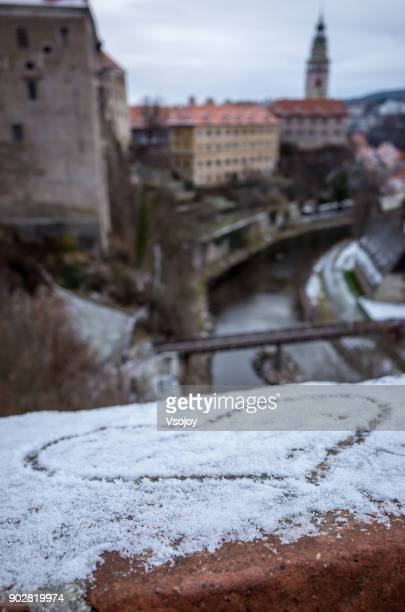close up of the snowy heart, český krumlov castle, czech republic - cesky krumlov castle stock photos and pictures