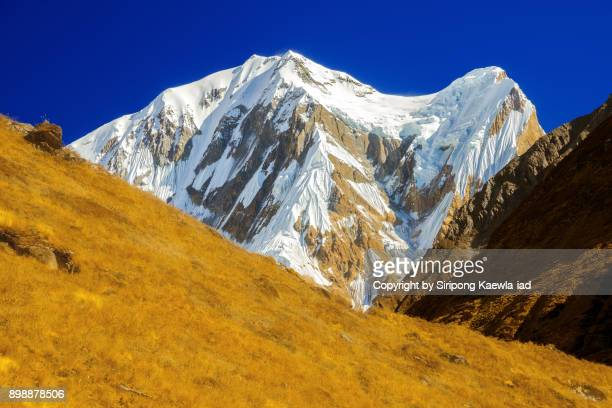 close up of the snowy mountain peak near the machhapuchhre base camp (mbc) in the dry season. - copyright by siripong kaewla iad stock photos and pictures