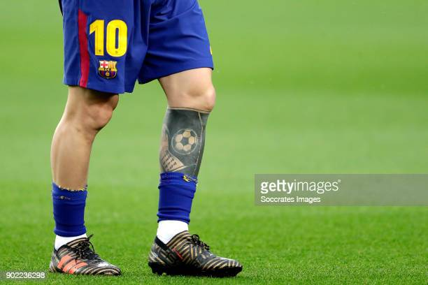 A close up of the tattoo of Lionel Messi of FC Barcelona during the La Liga Santander match between FC Barcelona v Levante at the Camp Nou on January...