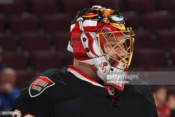 A close up of the throwback mask of Andrew Hammond of the Ottawa Senators during warmup prior to a game against the Nashville Predators at Canadian...
