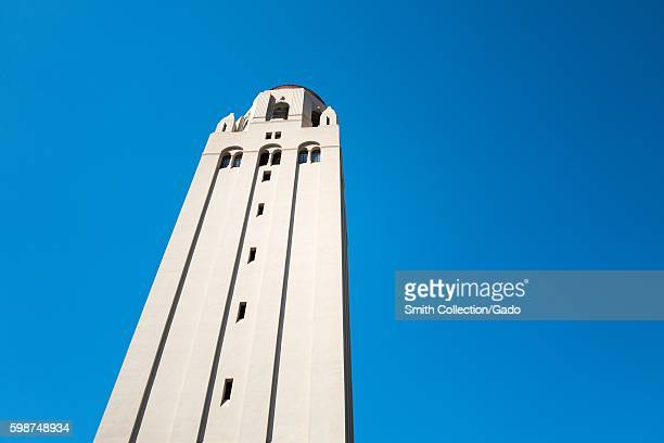Close up of the top of Hoover Tower isolated against a blue sky on the campus of Stanford University in the Silicon Valley town of Palo Alto...
