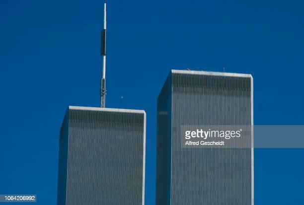 A close up of the top of the Twin Towers World Trade Center New York City US September 1986