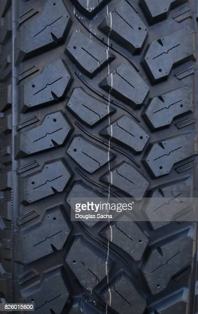 Close up of the treads on a tire