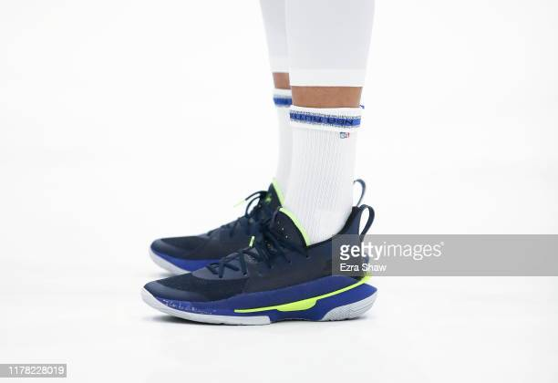 Close up of the Under Armour shoes worn by Stephen Curry of the Golden State Warriors during the Golden State Warriors media day at Chase Center on...
