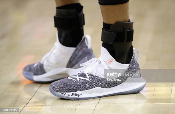 Close up of the Under Armour shoes worn by Stephen Curry of the Golden State Warriors during their game against the New Orleans Pelicans in Game Two...