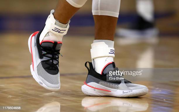 Close up of the Under Armour sneakers worn by Stephen Curry of the Golden State Warriors during their game against the Los Angeles Lakers at Chase...