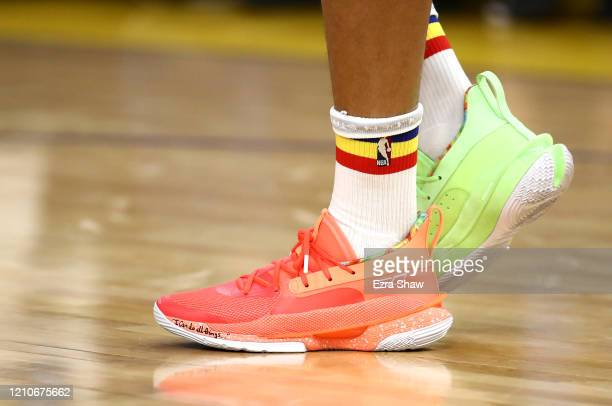 Close up of the Under Armour sneakers worn by Stephen Curry of the Golden State Warriors during warm ups before their game against the Toronto...