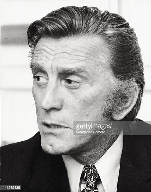 Close up of the US actor Kirk Douglas in a hotel in Italy during an interview Rome 1971