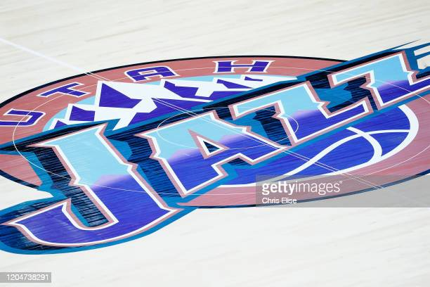 Close up of the Utah Jazz logo during a game at the Vivint Smart Home Arena on February 26, 2020 in Salt Lake City, UT. NOTE TO USER: User expressly...