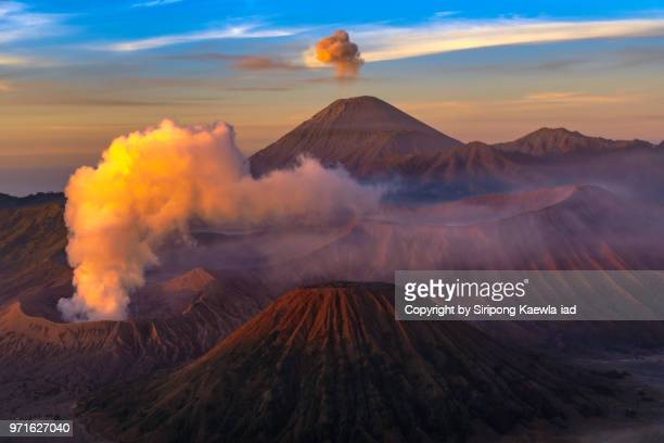 close up of the volcanic landscape of the mt.bromo, mt.batok and mt.semeru, east java, indonesia. - stratovolcano stock photos and pictures