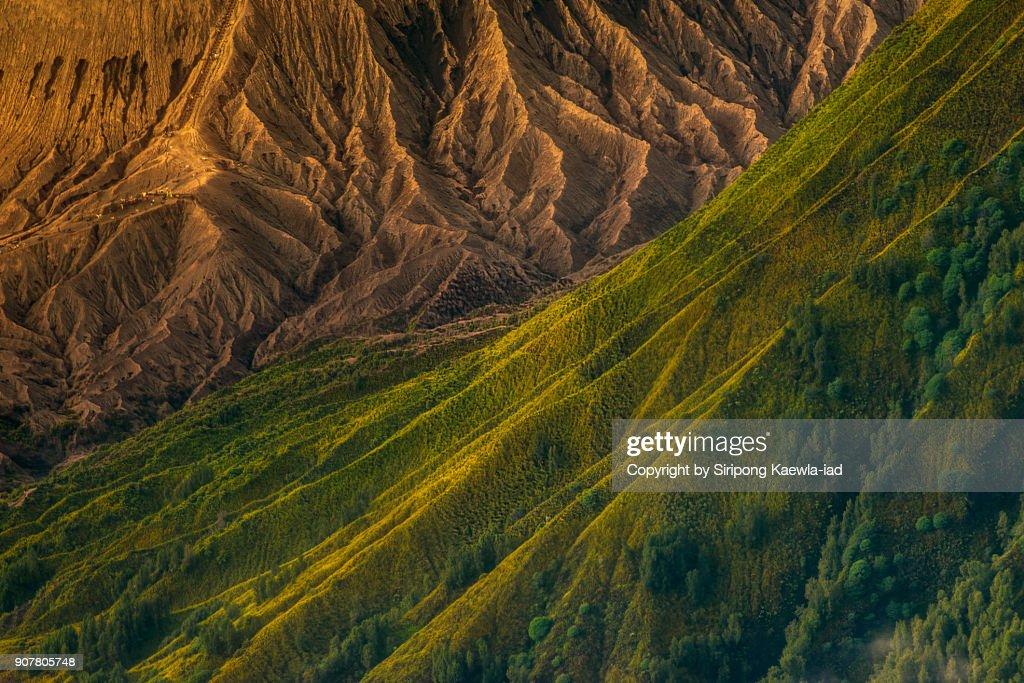 Close up of the volcano ridges of Batok and Bromo volcanoes,  Indonesia. : Stock Photo